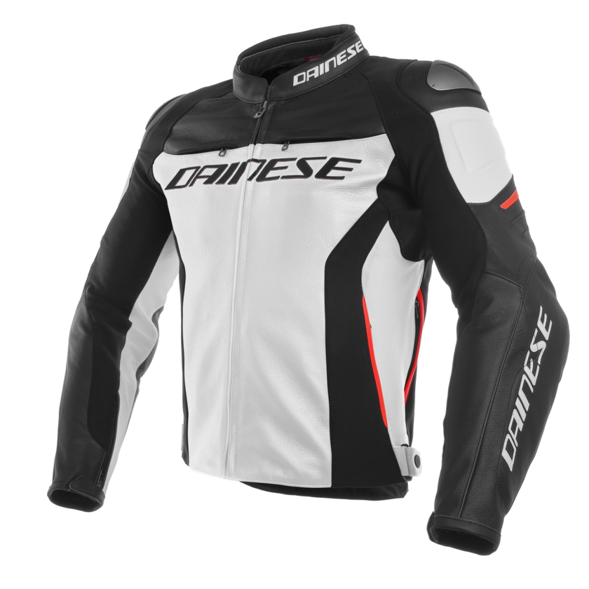 DAINESE GIACCA IN PELLE RACING 3 BIANCO NERO ROSSO