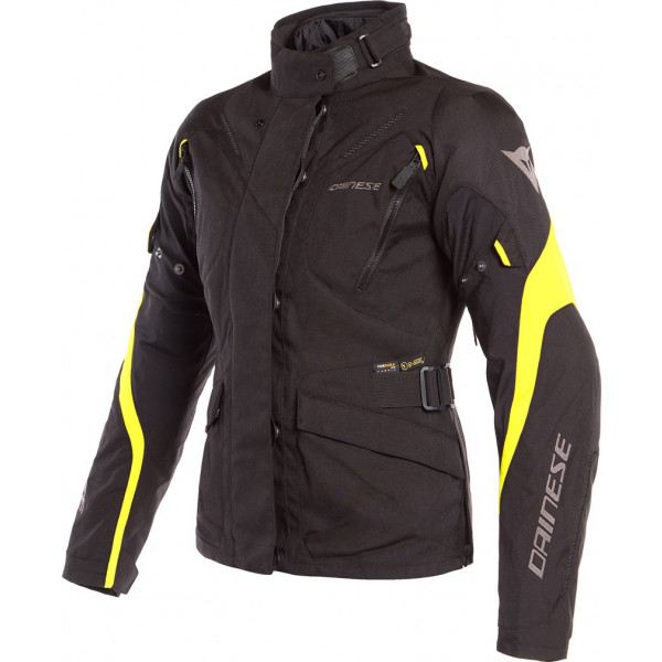 DAINESE GIACCA MOTO DONNA TEMPEST 2 D-DRY LADY NERO GIALLO FLUO